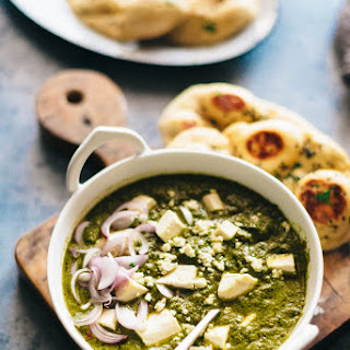 Palak Paneer Recipe (Spinach Curry with Cheese) & Cooking in an Indian Kitchen.