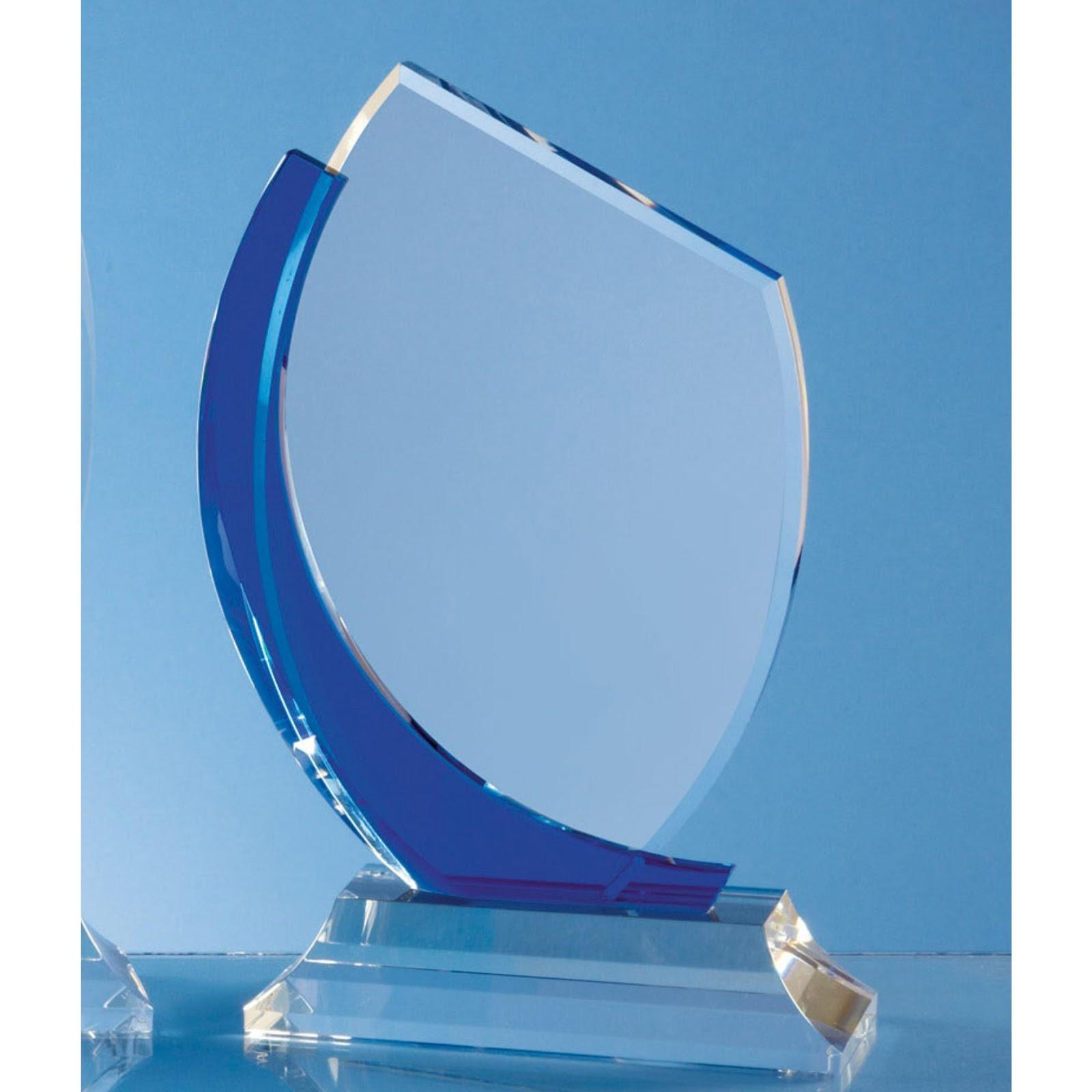 23cm Blue Curve Optical Crystal Flat Engraved Award