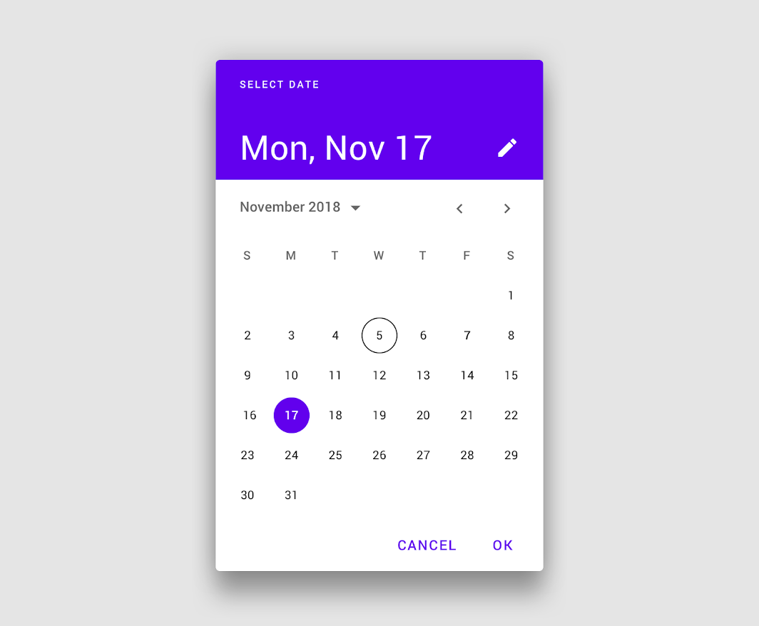 Date Pickers Material Design