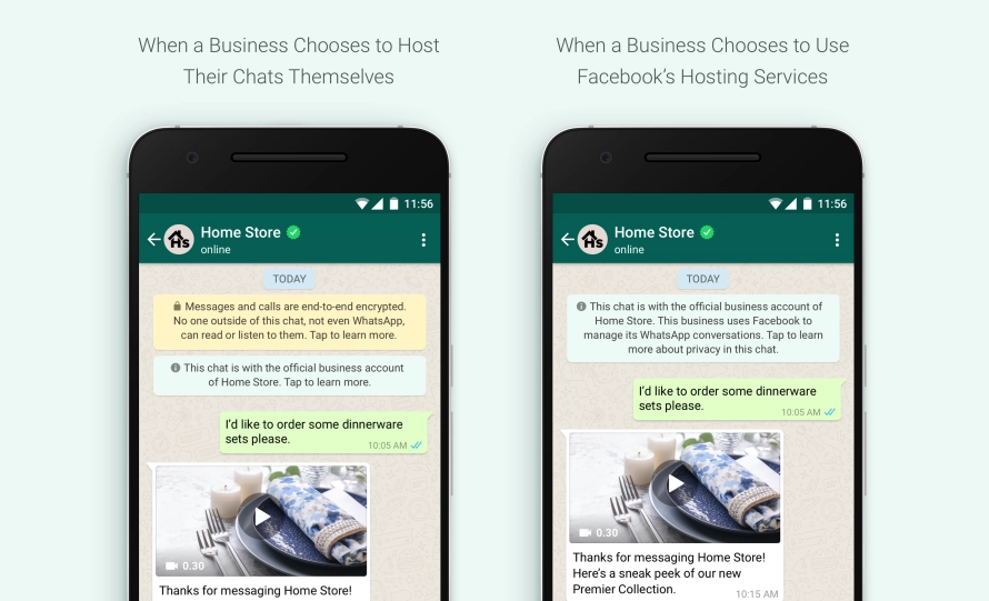WhatsApp message to customers when a business uses facebook's hosting service