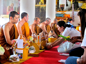 Photo: merit-making ceremony at Wat Mahathat in Nakhon ST in honor of the King's 84th birthday