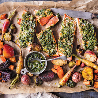 Baked Salmon + Root Vegetables with Sage Pesto Recipe
