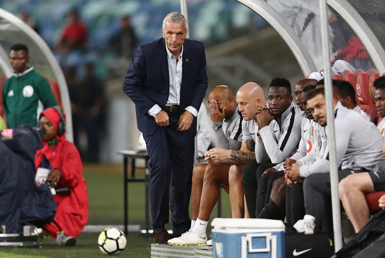 Kaizer Chiefs' German coach Ernst Middendorp reacts alongside his bench during the Caf Confederation Cup match against Elgeco Plus FC at Moses Mabhida Stadium in Durban on December 15, 2018.