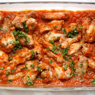 Crispy Baked Chicken Wings with Tomato Chutney.