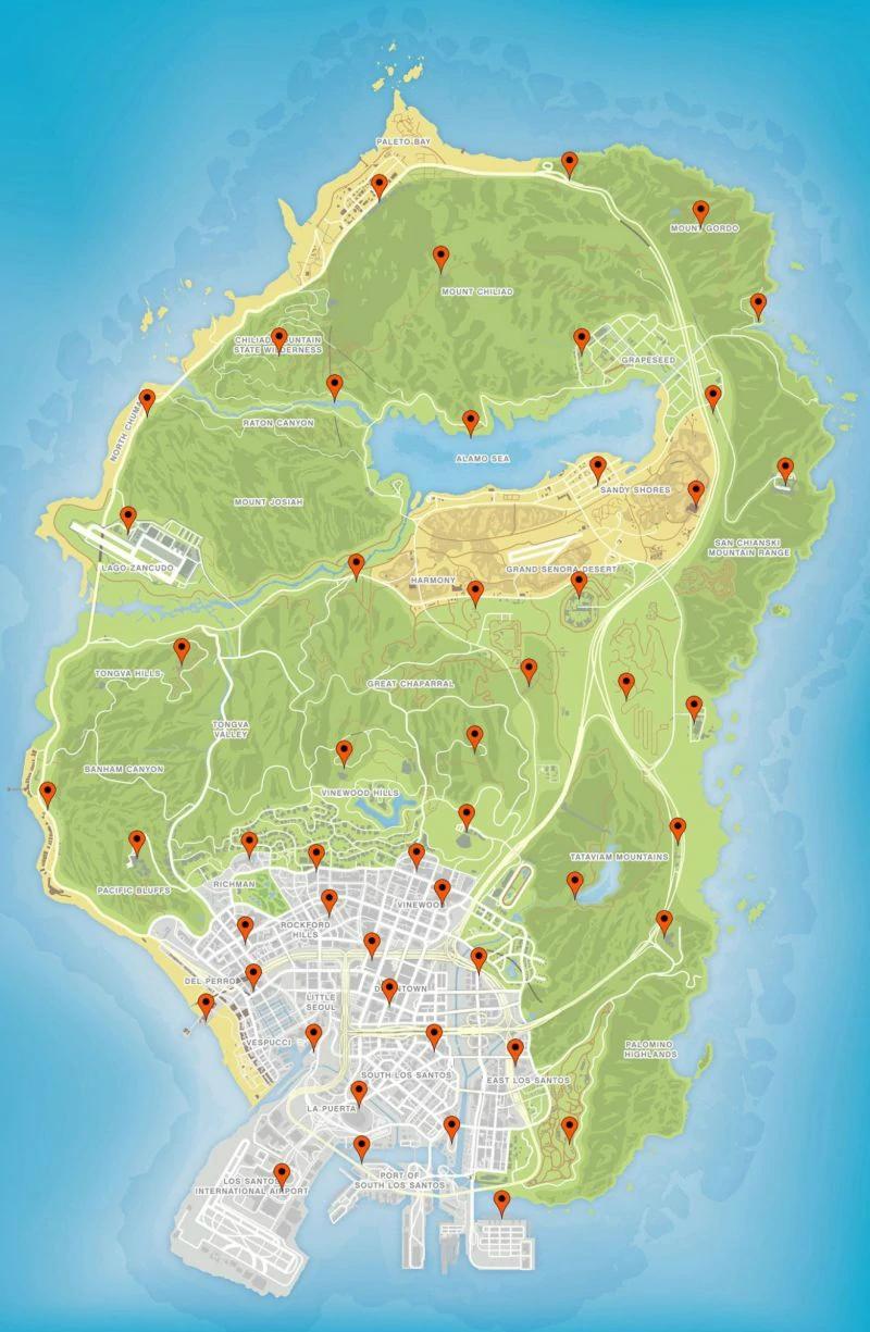 Die Karte mit allen Störsender Positionen