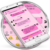 SMS Messages Ribbon Pink Black Theme