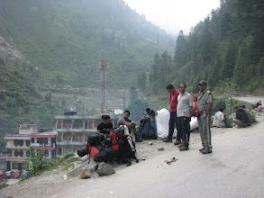 Photo: Waiting for the Bus at Manikarn to travel to Bursheini