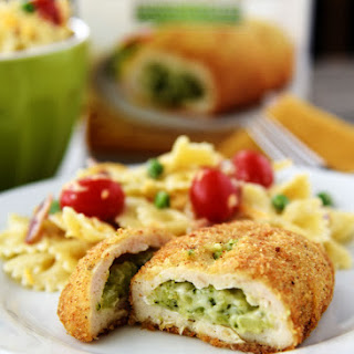 Bacon Ranch Pasta Salad with Barber Foods Broccoli Cheese Stuffed Chicken Breasts.