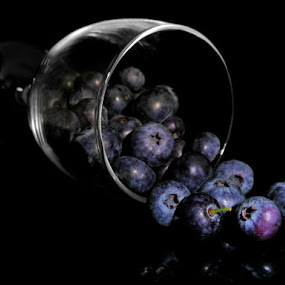 BLUEBERRIES  by Karen Tucker - Food & Drink Fruits & Vegetables ( starts with b, macro, close up, reflection, fruit, blueberries, healthy food, still life, drinking glass, arty farty,  )