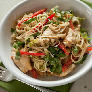 Chinese Chicken and Noodle Salad with Peanut Sauce.