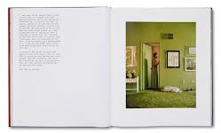 vrouw in deur van een olijfgroene kamer met schilderijen