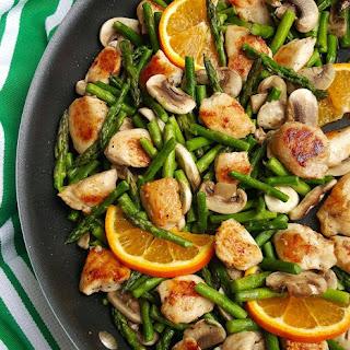 Orange Chicken Stir-Fry with Asparagus.