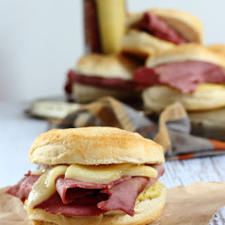 Corned Beef Sliders with Spicy Mustard and Melted Cheddar Cheese