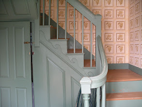 Photo: The widow's house was built in 1800 and is furnished in the style of 1840. The wallpaper seen here is a recreation of the original paper.