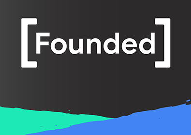 The headshots of the founders featured are placed against a black background with the Founded Logo.