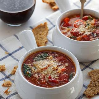 Italian Orzo Tomato Spinach Soup.