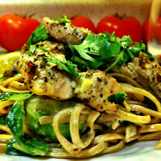 Lemon Cream Fettuccine with Brussels Sprouts, Mushrooms and Grilled Chicken