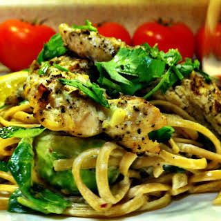 Lemon Cream Fettuccine with Brussels Sprouts, Mushrooms and Grilled Chicken.