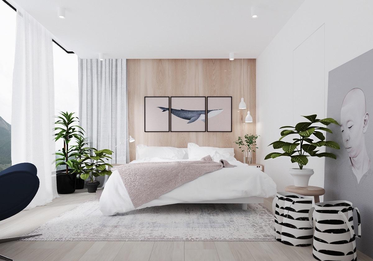 Không gian phòng ngủ được trang trí thêm cây xanh