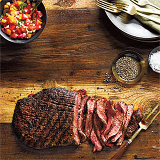 Spice-Rubbed Flank Steak with Fresh Salsa.