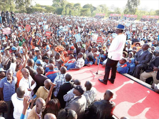 NASA flagbearer Raila Odinga addresses a rally in Machakos town on Monday. / DENNIS KAVISU