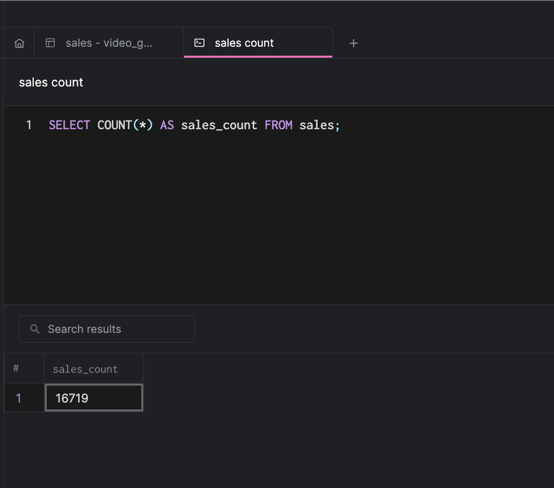 arctype query view with results pane