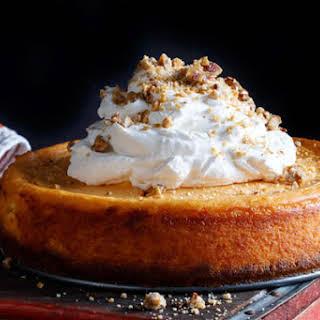 Sweet Potato Cheesecake with Bourbon Whipped Cream.