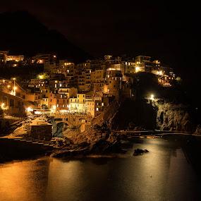 manarola by Eden Meyer - Buildings & Architecture Other Exteriors ( lights, village, night, seaside, landscape,  )