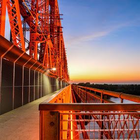 Sunset on the Big River Crossing by Joe Machuta - Buildings & Architecture Bridges & Suspended Structures ( memphis tn, big river crossing, sunset, longest foot bridge, mississippi river )