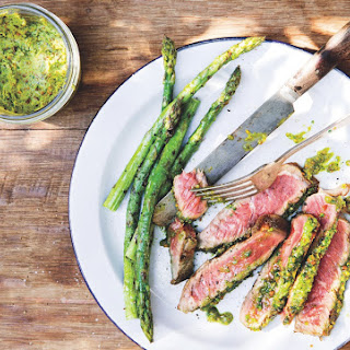 Ribeye Steaks With Pistachio Butter And Asparagus.