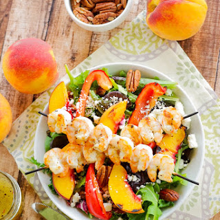 Grilled Shrimp, Peach & Goat Cheese Salad with Honey Balsamic Vinaigrette.