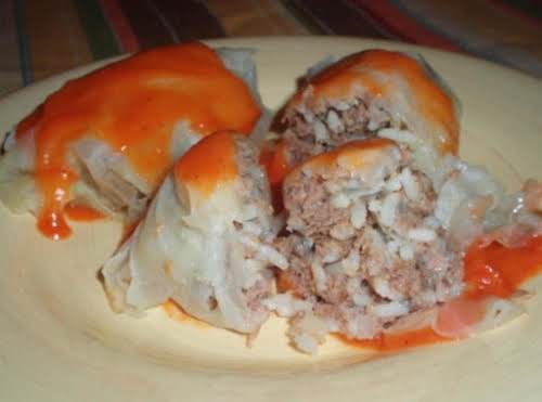 """Steamed Cabbage Beef Rolls with Sauce """"I have never made anything like..."""