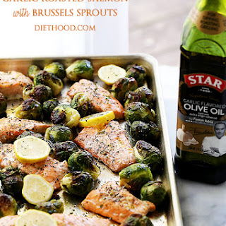 One Sheet Pan Garlic Roasted Salmon with Brussels Sprouts