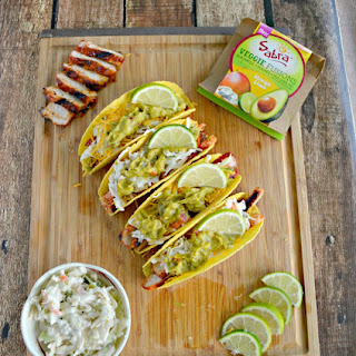 BBQ Pork Tacos with Slaw and Guacamole.