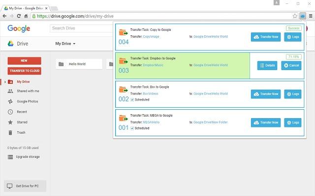 Transfer Onedrive to Google drive