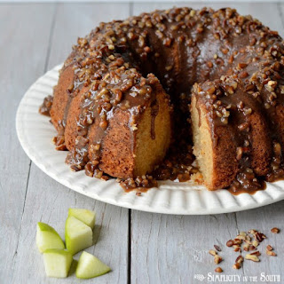 Amazing Apple Dapple Cake- with a caramel-pecan glaze