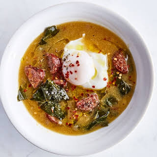 Andouille and Collard Greens Soup with Cornmeal.