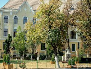 """Photo: Parculet in fata Colegiului National """"Mihai Viteazul"""" - Bustul lui Pavel Dan - (2009.09.01)"""