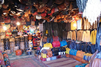 Photo: Leather goods made from the tanned hides, Fes