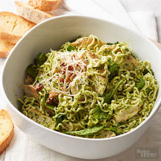 Chicken Spinach Pesto Noodle Skillet.