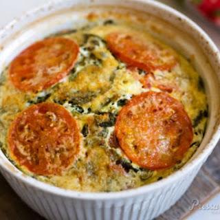 Pressure Cooker Crustless Tomato Spinach Quiche