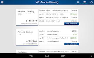 Screenshot of VCB Mobile Banking
