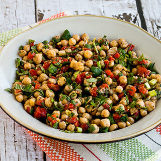 Sauteed Chickpea Salad with Roasted Red Peppers, Mint, and Sumac.