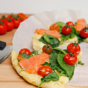 Pizza With Cherry Tomato, Spinach and Smoked Salmon