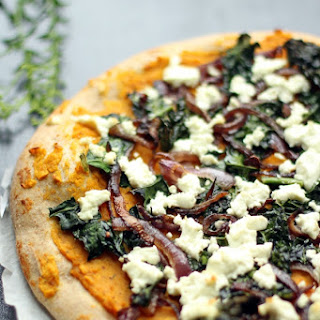 Butternut Squash Pizza with Kale and Goat Cheese