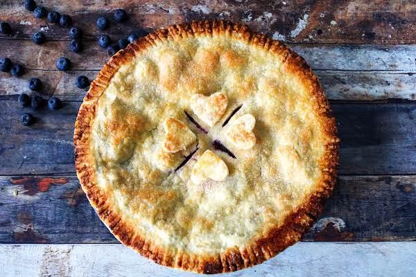 Grandma Catherine's Blueberry Pie Ready To Be Sliced.
