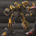 Bumble bee robot of yellow car wallpaper icon