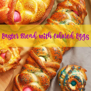 Easter Bread with Colored Eggs.