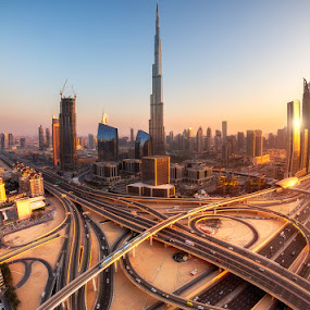 Burj Sunset by Sebastian Tontsch - Buildings & Architecture Office Buildings & Hotels ( dubai, sunset, uae, burj khalifa, downtown )