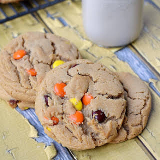 Peanut Butter Cookies with Reeses Pieces.